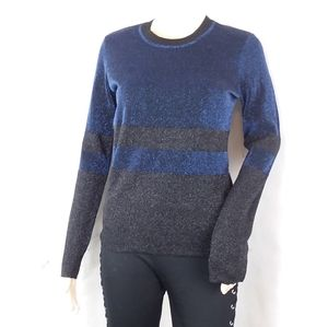 TORY BURCH Lurex Block Metallic Crewneck Sweater